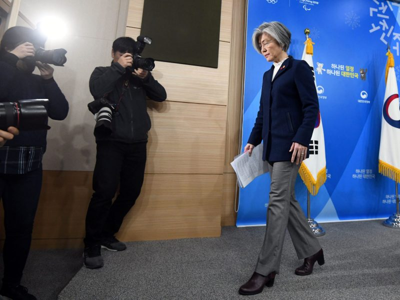 "South Korea's Foreign Minister Kang Kyung-Wha finishes up a briefing on the 2015 South Korea-Japan agreement over South Korea's ""comfort women"" issue at the Foreign Ministry in Seoul, on January 9, 2018. Photo: Reuters: Jung Yeon-Je"