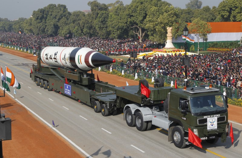 A surface-to-surface Agni-5 missile is displayed at a parade in New Delhi. Photo: Reuters / B Mathur