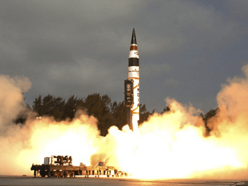 India test-fires its Agni-V ICBM on January 18. Photo: The Times of India via Indian Defence Ministry
