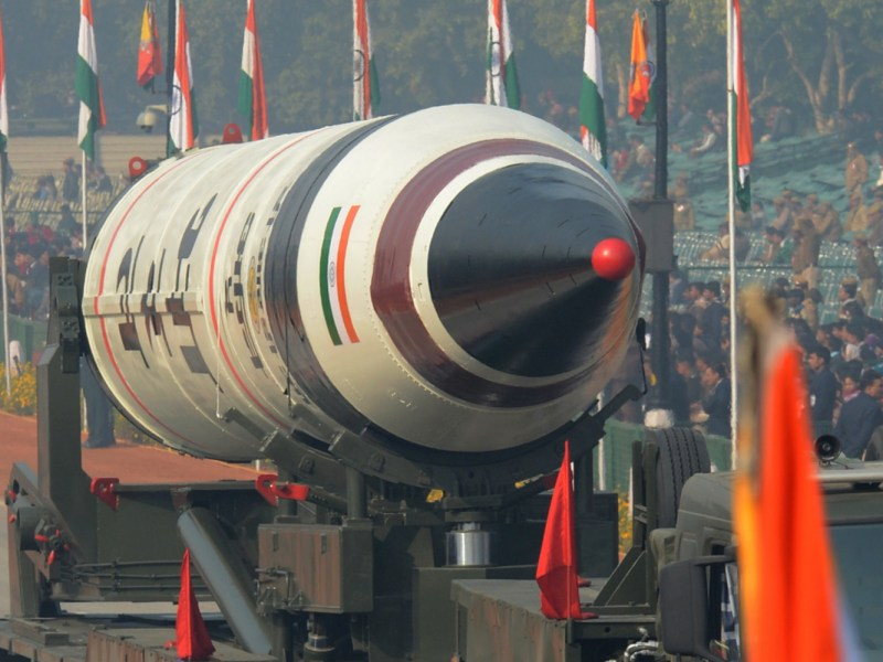 India's Agni-5 Missile is displayed during the Republic Day parade in New Delhi in 2013. Photo:  AFP
