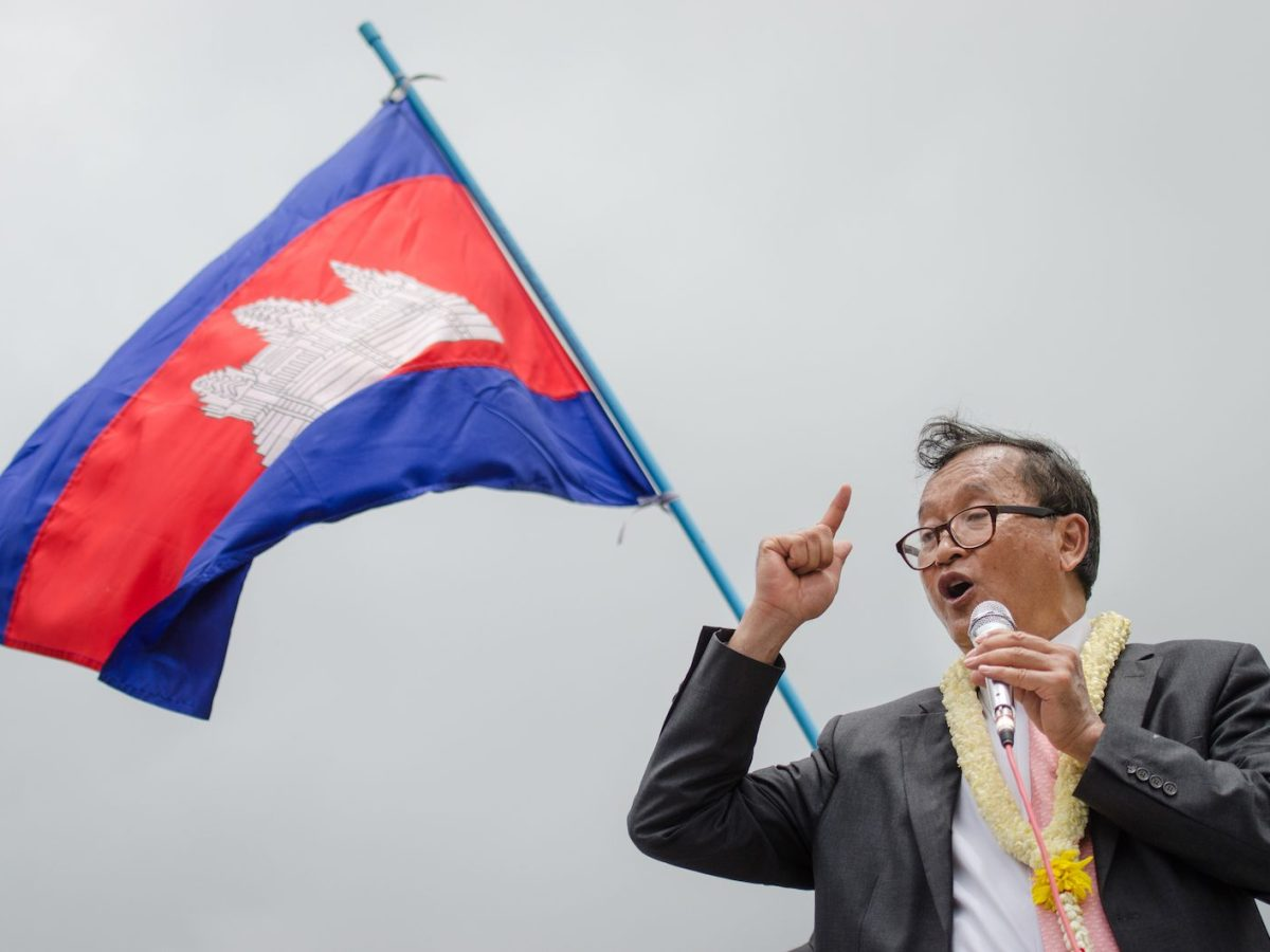 Sam Rainsy, then president of the Cambodia National Rescue Party, speaks to his supporters upon his arrival in Phnom Penh on 19, July 2014. Photo: AFP/Kimlong Meng/NurPhoto
