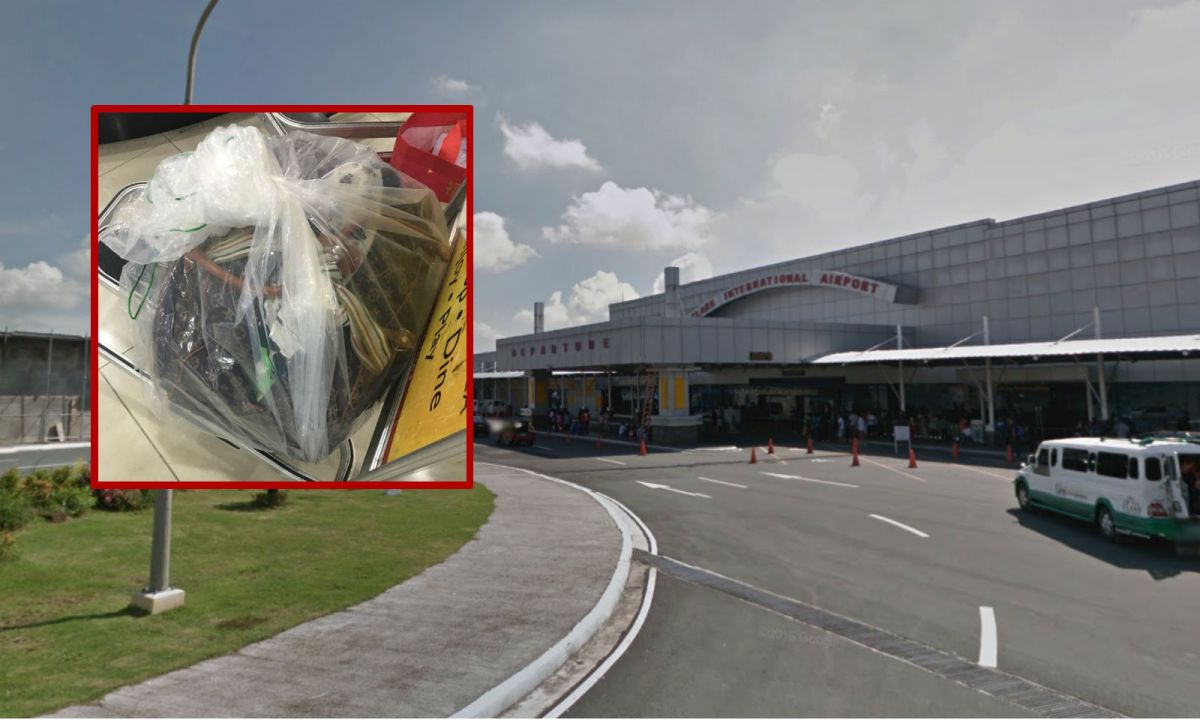 Rhoda Ildefonso's luggage (inset) was wrapped in a plastic bag upon her arrival at Clark International Airport. Photos: Google Maps, Facebook, Rhoda Ildefonso