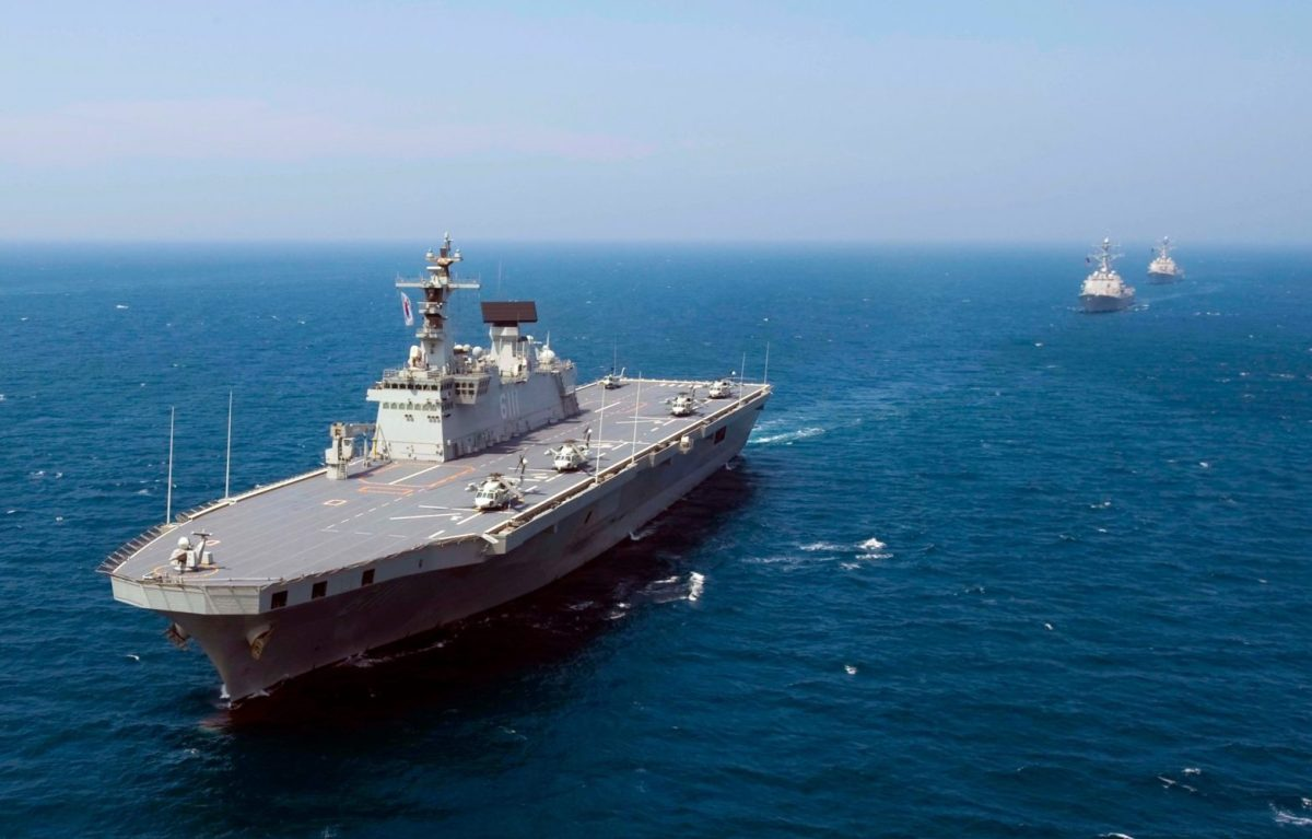The Republic of Korea Navy's amphibious landing ship Dokdo under way in the Sea of Japan. Photo: Seaman Adam K Thomas / Korean Navy