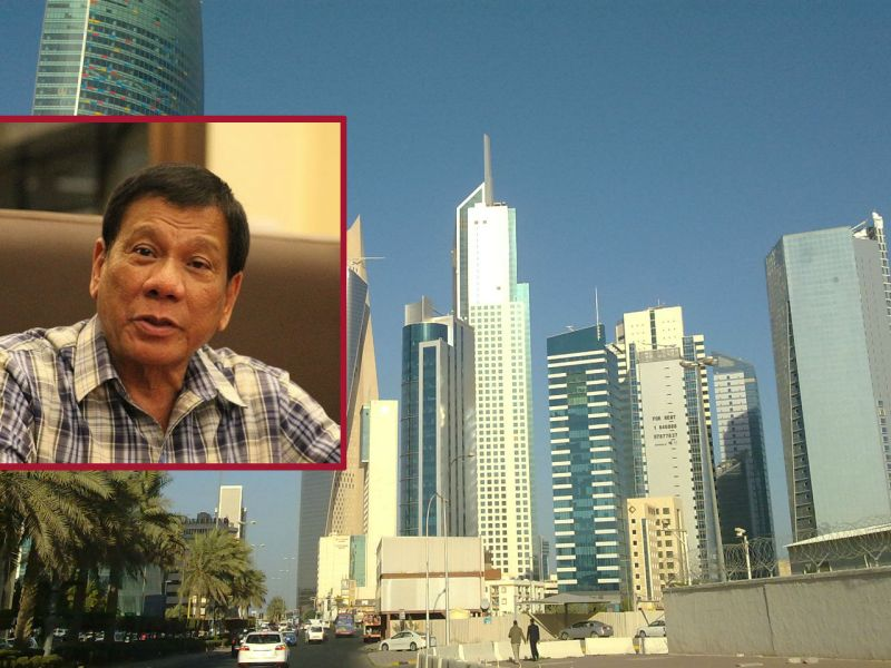 Duterte is considering a ban on the deployment of all types of Filipino workers in Kuwait. Photos: Wikimedia Commons, Irvin Calicut, Presidential Communications Office