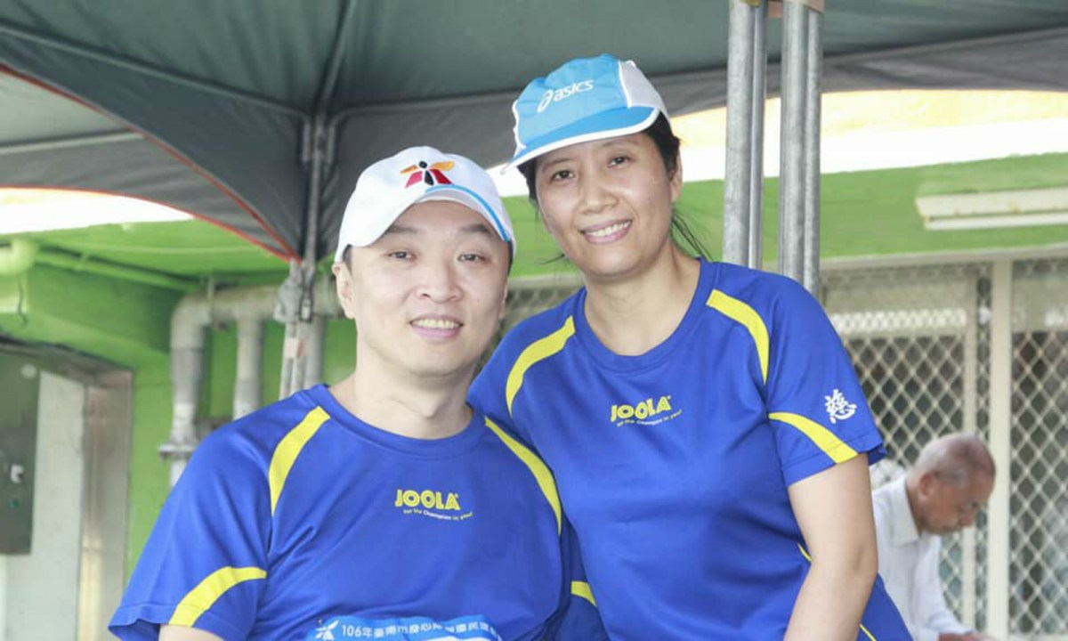Chiu Kuang-Long and his wife Jamea Juntilla posted a picture during a sports event. Photo: Facebook / Chiu Kuang-Long