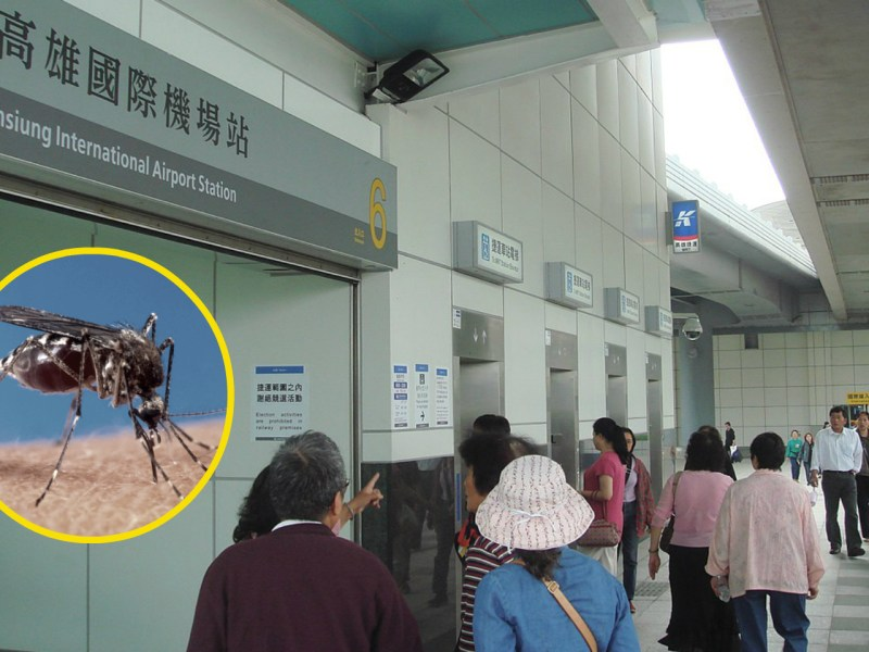Kaohsiung International Airport Mass Rapid Transit station. The dengue virus is carried by mosquitoes. Photos: Wikimedia Commons