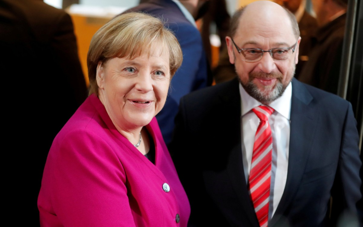 German Chancellor Angela Merkel and Social Democratic Party (SPD) leader Martin Schulz. Photo: Reuters / Hannibal Hanschke
