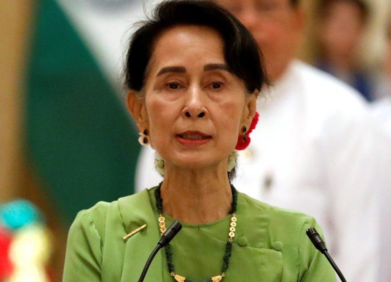 缅甸国务资政昂山素姬于2017年9月6日在缅甸奈吉塔举行的新闻发布会上发表讲话。相片:路透社/ Soe Zeya Tun