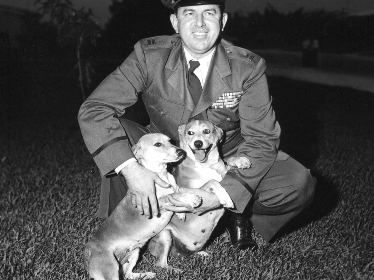 Donald Nichols loved dogs. In Korea, he had a snarling pack of mutts for protection from North Korean assassins. At his spy base outside Seoul, his dogs sometimes ate with him in the officers' mess and occasionally bit other Air Force officers. Photo courtesy of Lindsay Morgan