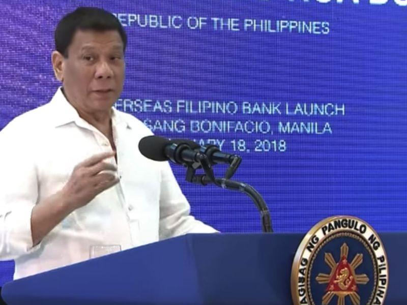 President Rodrigo Duterte leads the opening of the Overseas Filipino Bank. Photo: YouTube