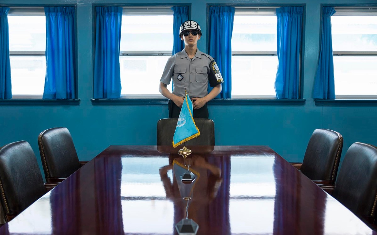 A United Nations soldier in the Joint Security Area in the Korean Demilitarized Zone, Panmunjom. Photo: iStock