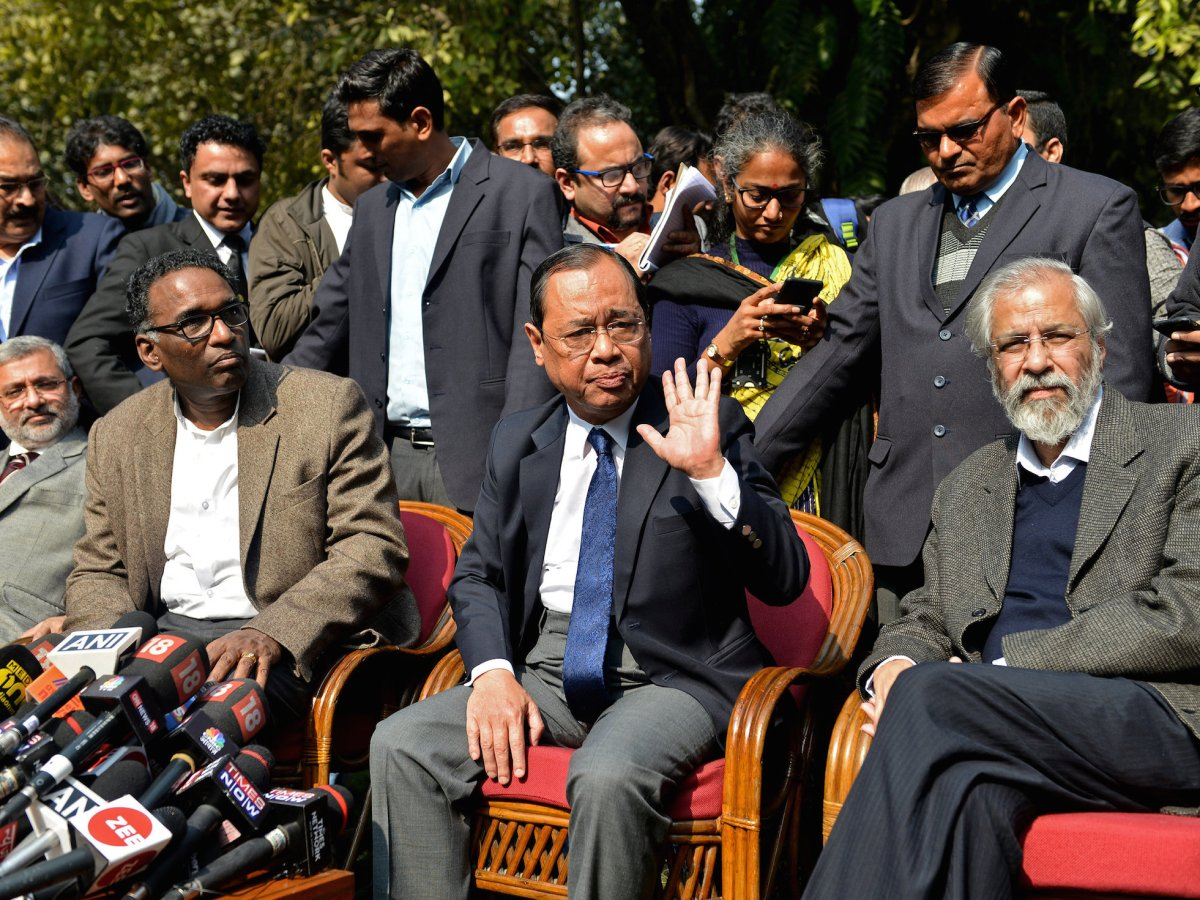 Left to right: Justices Kurian Joseph, Jasti Chelameswar, Ranjan Gogoi and Madan Lokur address the media at a news conference in New Delhi on January 12, 2018. Photo: Reuters/ Stringer