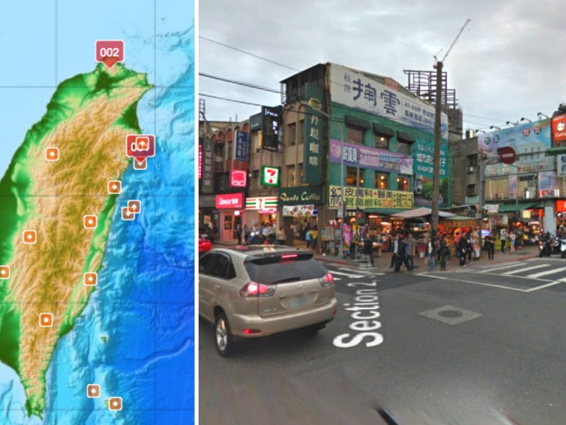 A magnitude 5.7 earthquake was recorded in Taipei on Wednesday afternoon. Photos: Central Weather Bureau, Google Maps