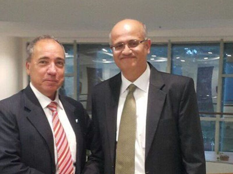 India's foreign secretary designate Vijay Keshav Gokhale (right) with an Israeli diplomat Photo: Courtesy Twitter