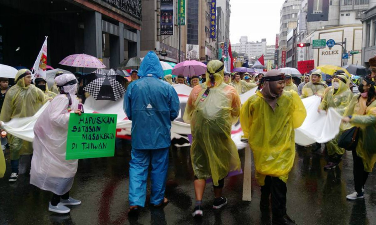 About 1,500 migrant workers and labor activists rallied in Taipei on Sunday. Photo: Facebook