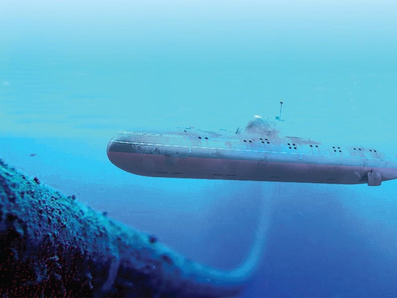 An illustration of a submarine in close quarters with an undersea communications cable. Photo: Policy Exchange