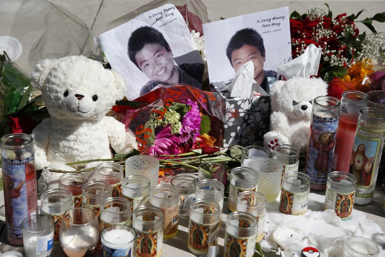 A memorial for Peter Wang, one of the victims of the Marjory Stoneman Douglas High School shooting. Photo: AFP/Rhona Wise