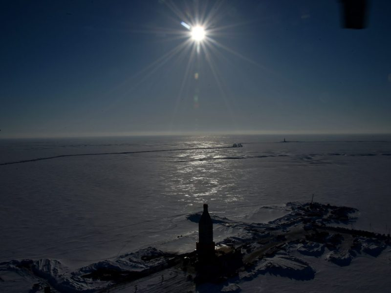 A gas derrick is pictured at the village of Sabetta on the Yamal Peninsula in the Arctic circle. Photo: AFP/Kirill Kudryavtsev