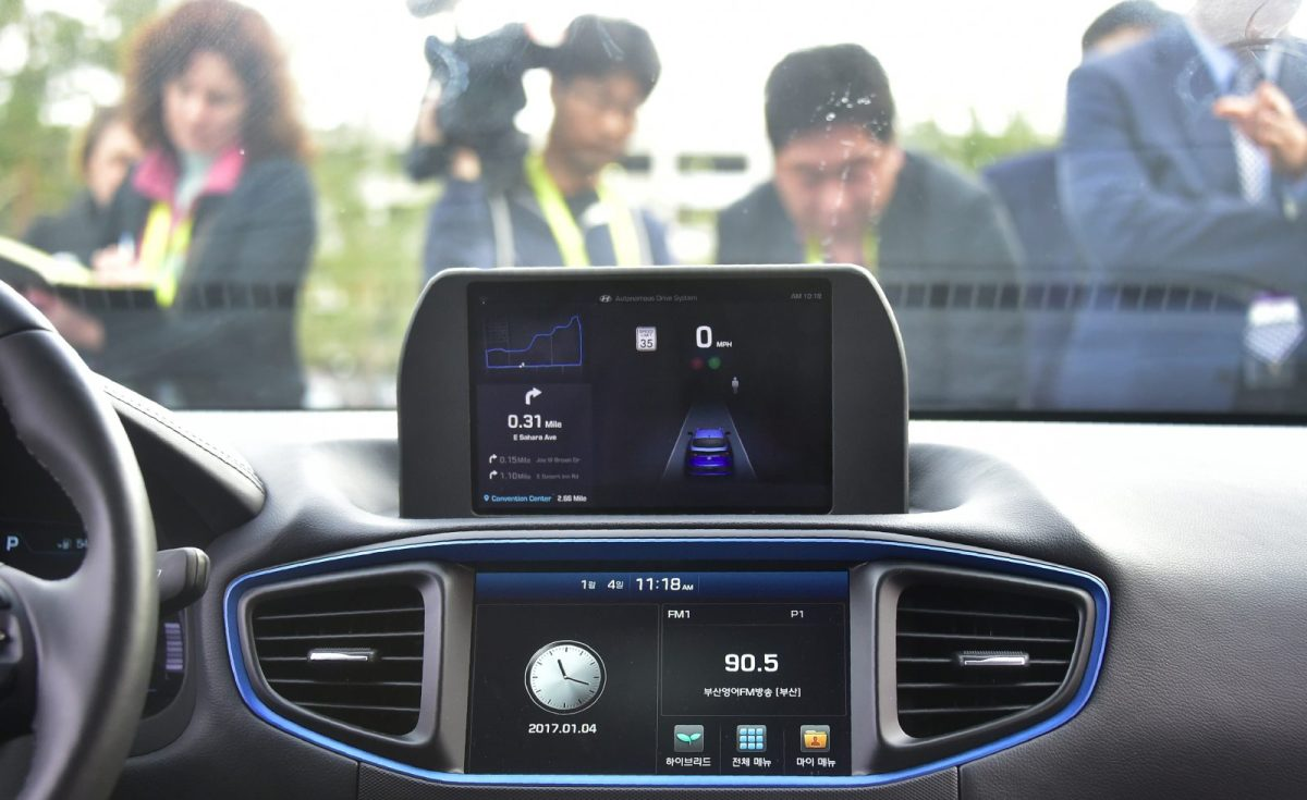 A view from inside Autonomous IONIQ vehicle from South Korea's Hyundai at the 2017 Consumer Electronics Show in Las Vegas. Photo: AFP / Frederic J. Brown