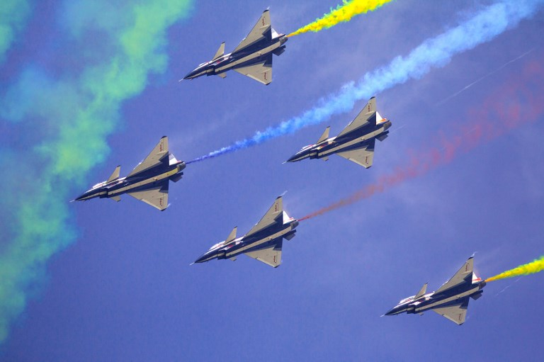 J-10 fighter jets of the Bayi Aerobatic Team of Chinese PLA's Air Force. Photo: AFP