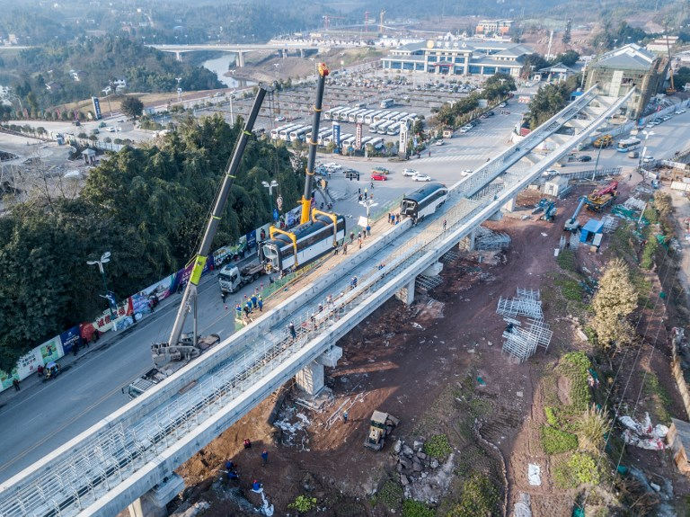 A monorail system developed by BYD is being installed in Guang'an city, in the southwest Sichuan province. Photo: AFP