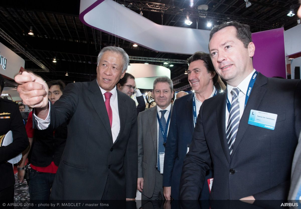 Singapore Defense Minister Ng Eng Hen seen at the Singapore Airshow 2018. Photo: Reuters