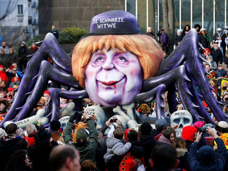 "A carnival float shows Christian Democratic Union (CDU) leader and German Chancellor Angela Merkel as black widow at the traditional ""Rosenmontag"" Rose Monday carnival parade in Duesseldorf, Germany, February 12, 2018.   Photo: Reuters/Thilo Schmuelgen"