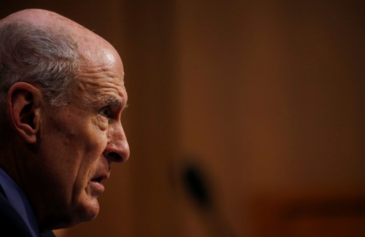 "Director of National Intelligence (DNI) Dan Coats testifies during a Senate Intelligence Committee hearing on ""Worldwide Threats"" on Capitol Hill. February 13, 2018. Photo: Reuters/Leah Millis"
