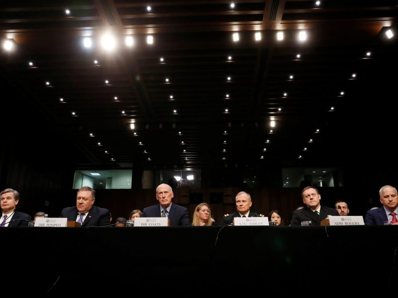 FBI Director Christopher Wray; CIA Director Mike Pompeo; Director of National Intelligence (DNI) Dan Coats; Defense Intelligence Agency Director Robert Ashley;  NSA Director Michael Rogers; and National Geospatial Intelligence Agency Director Robert Cardillo testify before a Senate Intelligence Committee hearing February 13, 2018. Photo: Reuters/Leah Millis
