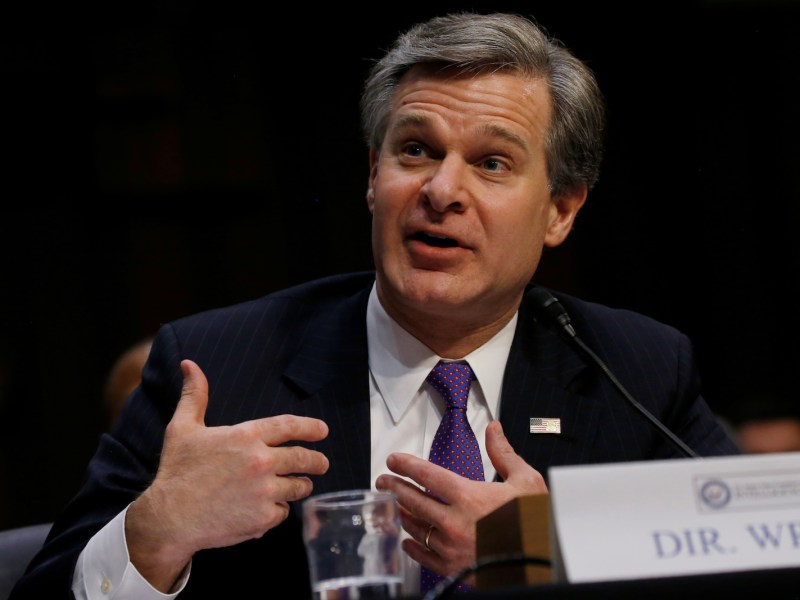 FBI Director Christopher Wray testifies during a Senate Intelligence Committee hearing on 'Worldwide Threats' on Capitol Hill in Washington, DC, on February 13, 2018. Photo: Reuters / Leah Millis