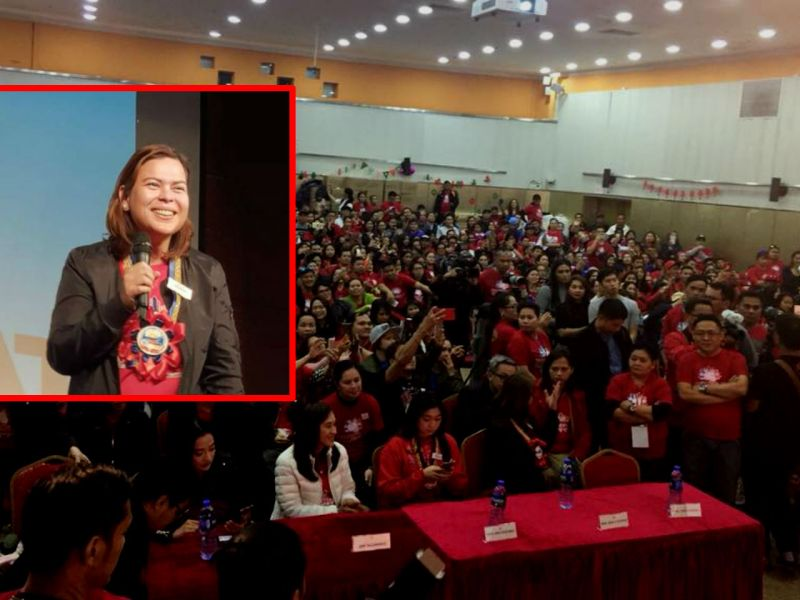 Sara Duterte (inset) and the hundreds of Filipino workers who gathered at Chan Meng Kam Theater in Macau. Photo: Facebook, Tapang at Malasakit Alliance for the Philippines