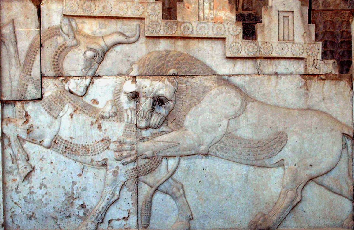 Relief art of a lion attacking a mythological unicorn. Photo: Wikimedia Commons