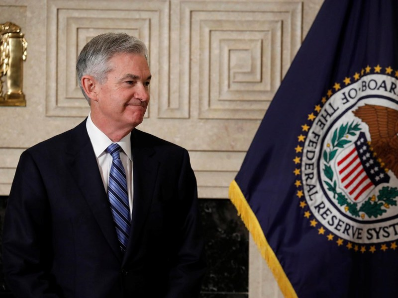 An unknown quantity: Federal Reserve Chairman Jerome Powell arrives to take the oath of office at the Federal Reserve in Washington on February 5, 2018. Photo: Reuters/Aaron P. Bernstein