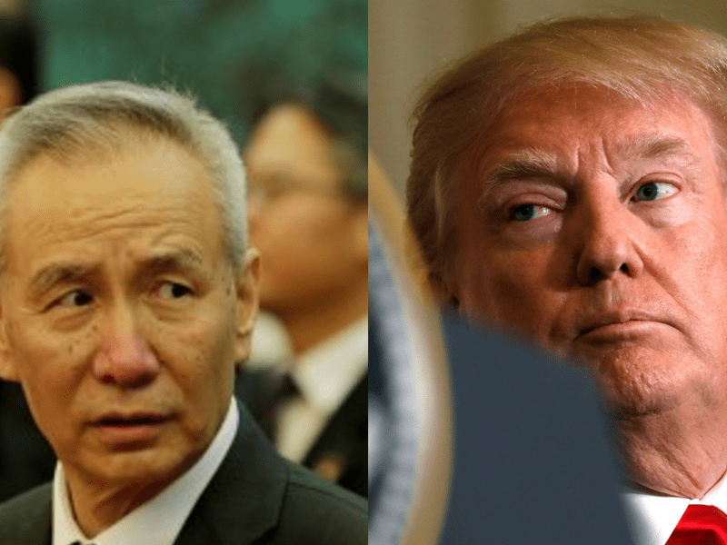 The top economic adviser to Chinese President Xi Jinping, Liu He, opposite US President Donald Trump. Photos: Reuters