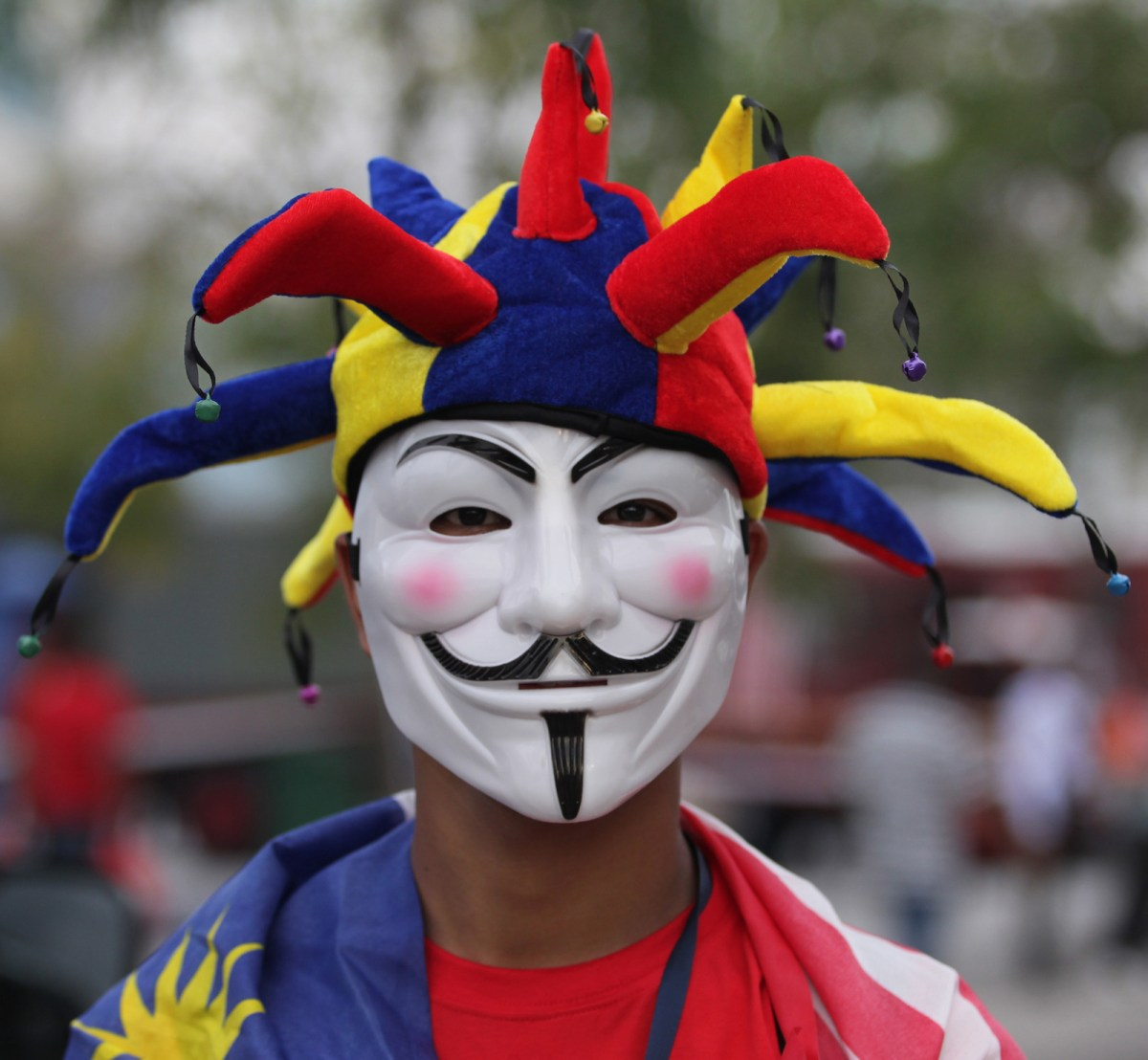 A Malaysian youth wears a Guy Fawkes mask and jester's hat during a rally to celebrate the country's Independence Day in a file photo. Photo: AFP/Mohd Rasfan