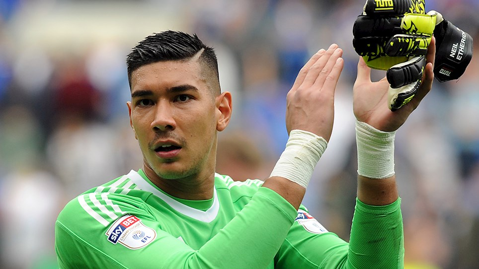 Gunning for promotion to the English Premier League – Cardiff City's Filipino goalkeeper, Neil Etheridge. Photo via cardiffcity.co.uk