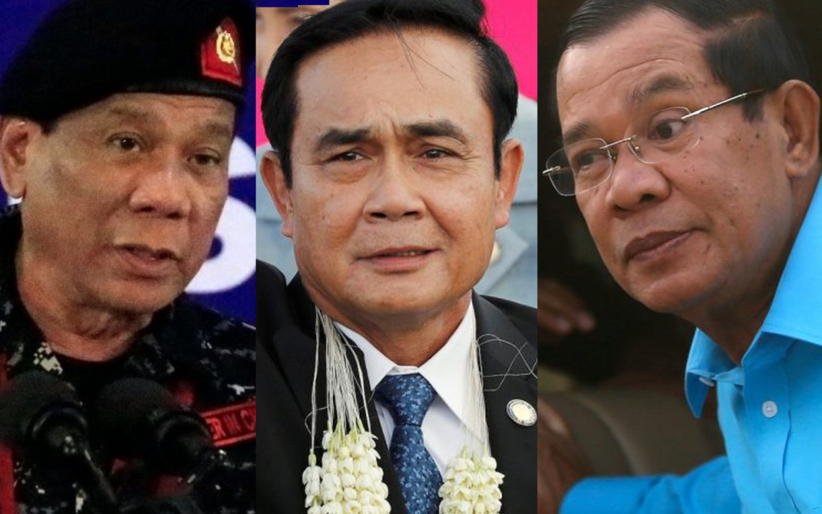 Philippine President Rodrigo Duterte, Thai junta leader Prayut Chan-o-cha, and Cambodian leader Hun Sen. Photos: Reuters