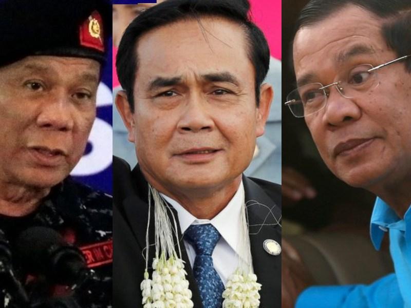 Philippine President Rodrigo Duterte, Thai junta leader Prayut Chan-o-cha, and Cambodian leader Hun Sen. Photos: Reuters