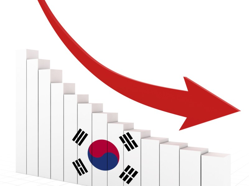 Graphic Image of a South Korean market downturn. Image: iStock/Getty Images