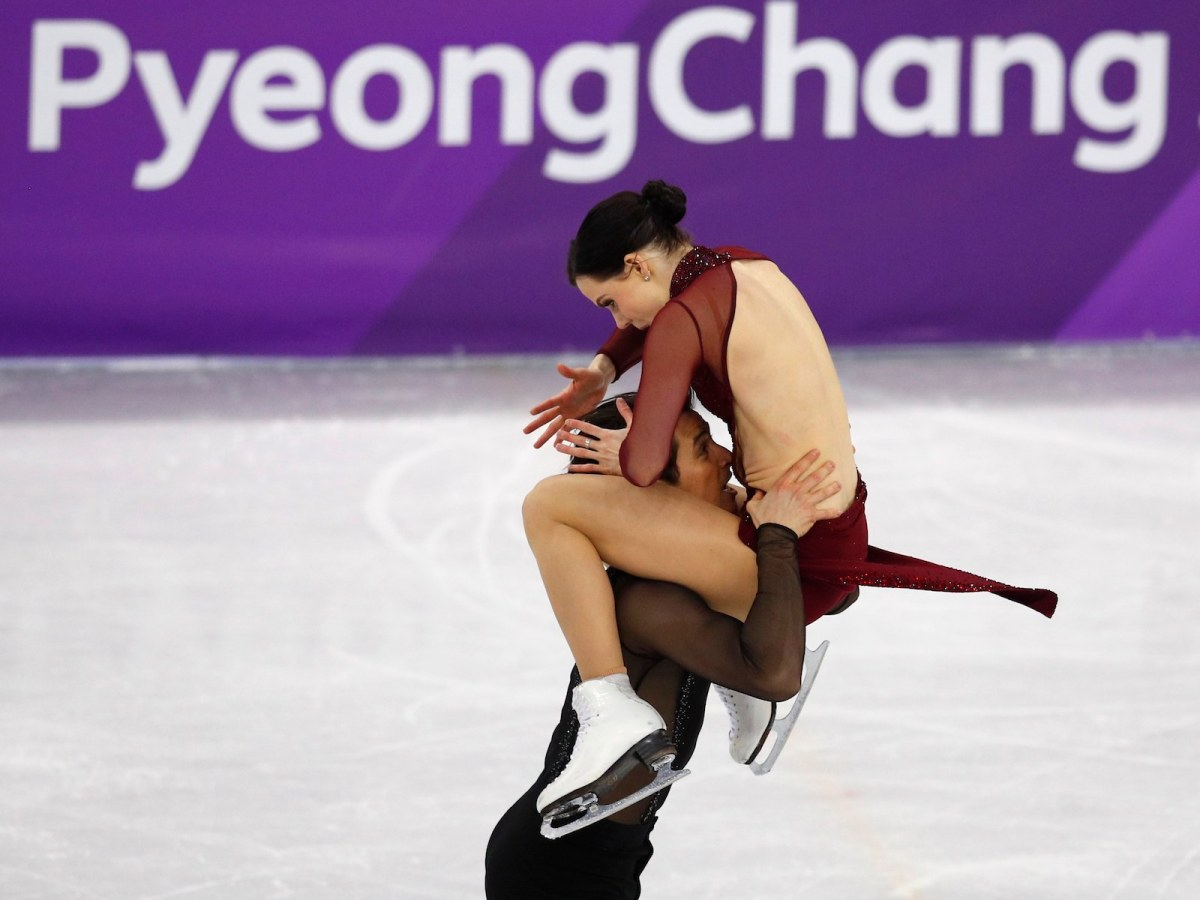 Canada's Tessa Virtue and Scott Moir during their gold medal performance at the Winter Olympics. Photo: Reuters / Phil Noble