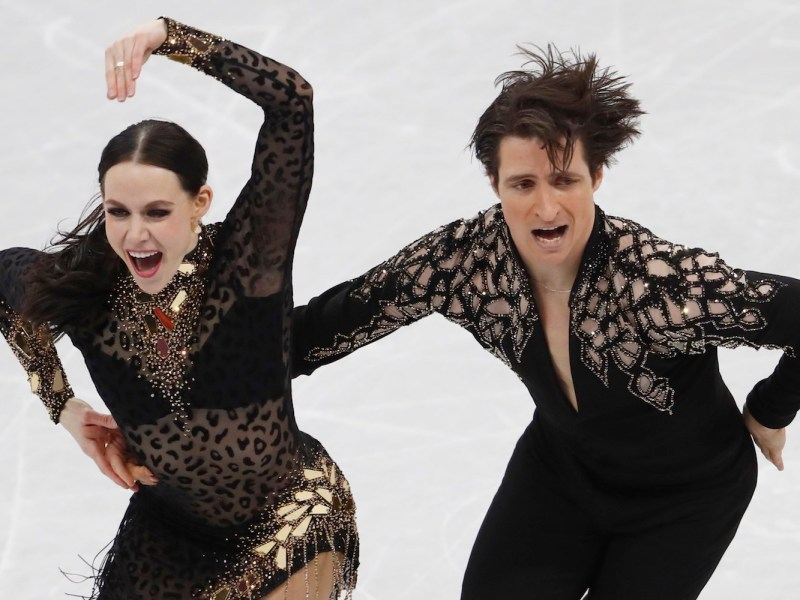Canada's Tessa Virtue and Scott Moir during the ice dancing short program at the Gangneung Ice Arena in South Korea. Photo: Reuters / Damir Sagolj