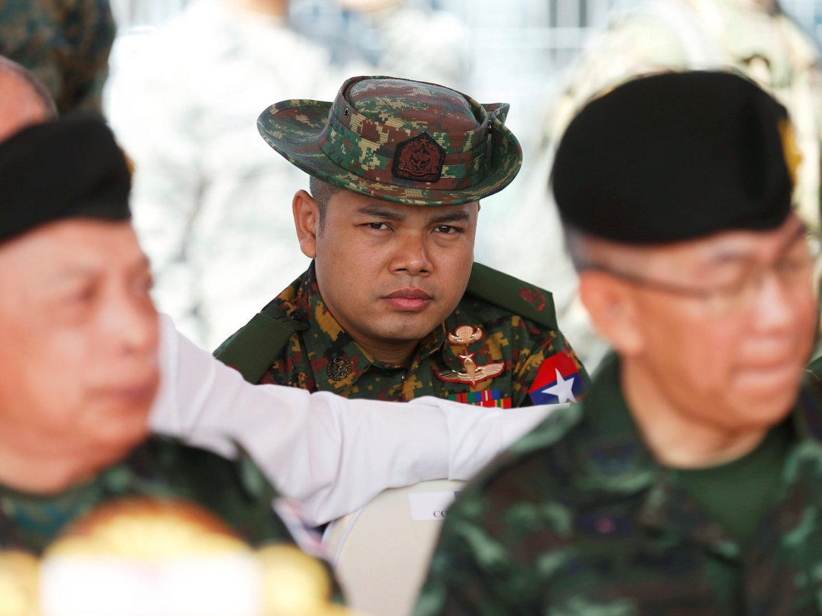 A Myanmar army officer (C) attends the opening ceremony of Cobra Gold, Asia's largest annual multilateral military exercise, outside Bangkok, Thailand February 13, 2018. Photo: Reuters/Soe Zeya Tun