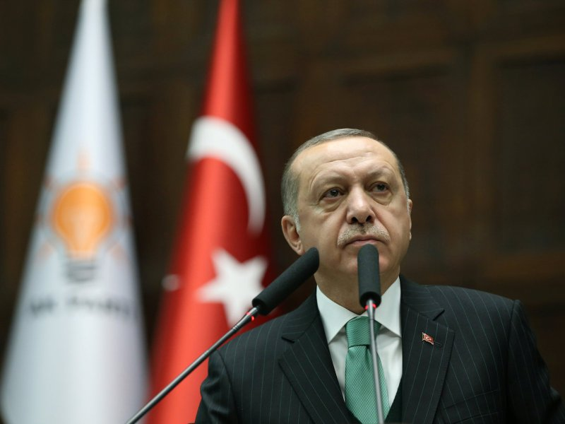 Turkish President Recep Tayyip Erdogan addresses members of parliament from his ruling AK Party in Ankara. Photo: Reuters