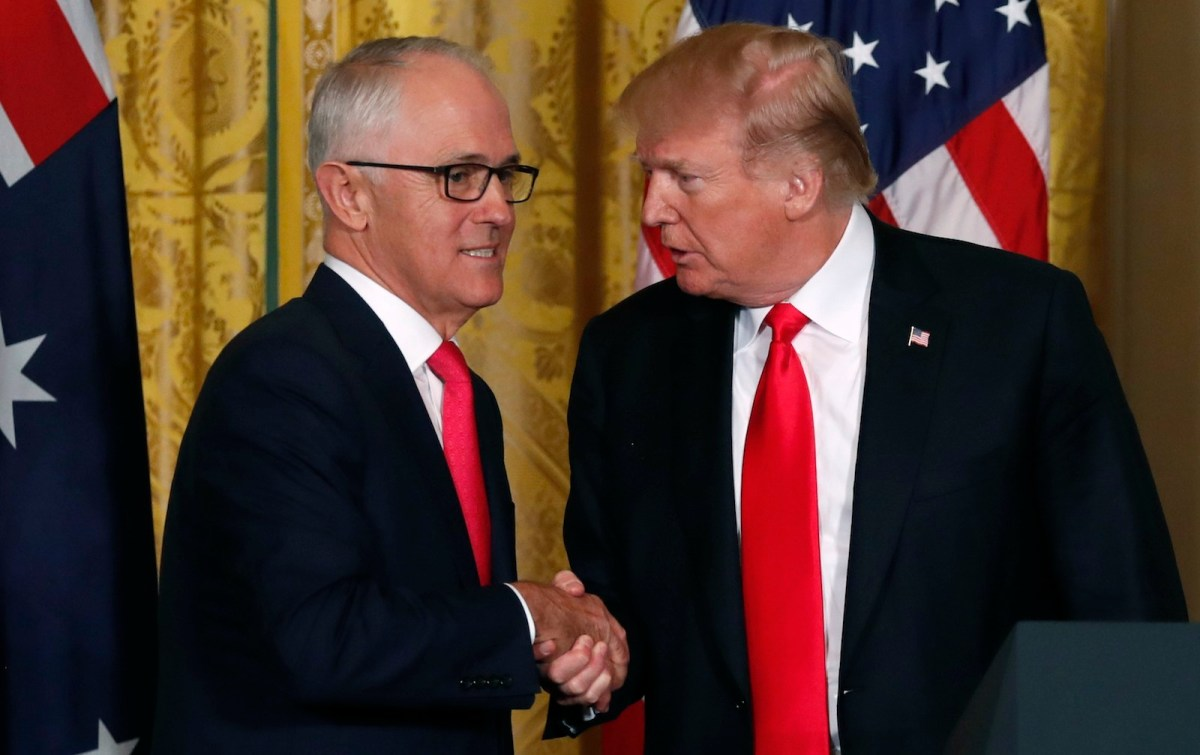 US President Donald Trump shakes hands with Australian Prime Minister Malcolm Turnbull (L) at a news conference at the White House in Washington, February 23, 2018. Photo: Reuters/Jonathan Ernst