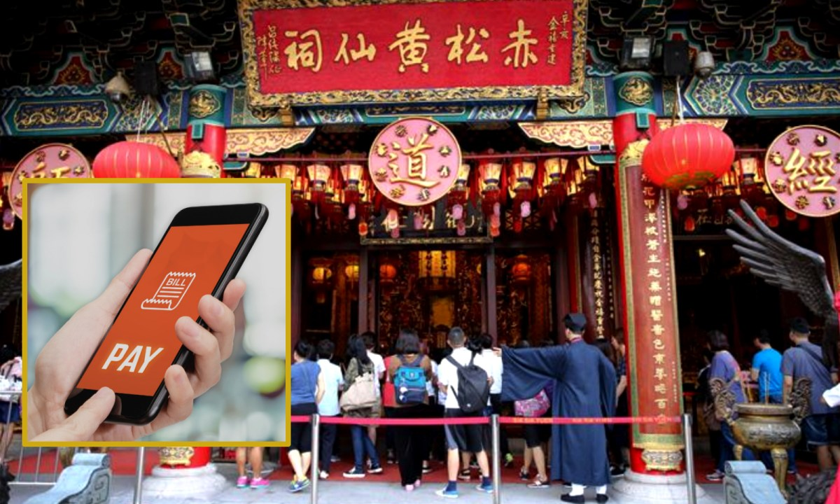 Mobile payment for lighting  incense is now available in Wong Tai Sin Temple. Photo: iStock, Sik Sik Yuen