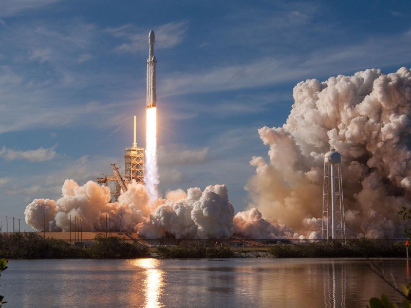 It was a moment in history as the Falcon Heavy rocket launched from the Kennedy Space Center. Photo: SpaceX