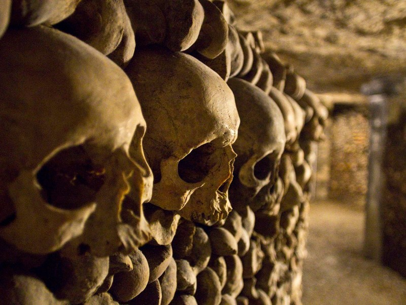 Deep inside the Catacombs of Paris. Photo: iStock