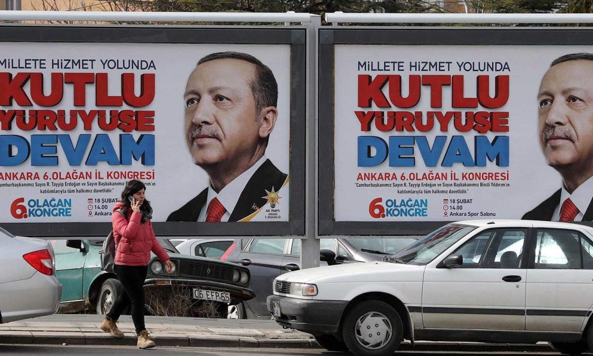 The face of Turkish President Recep Tayyip Erdogan on a billboard in Ankara. Photo: AFP/Adem Altan