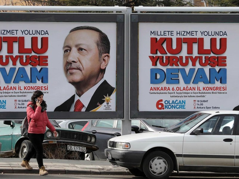 The face of Turkish President Recep Tayyip Erdogan on a billboard in Ankara. Photo: AFP/Adem Altan