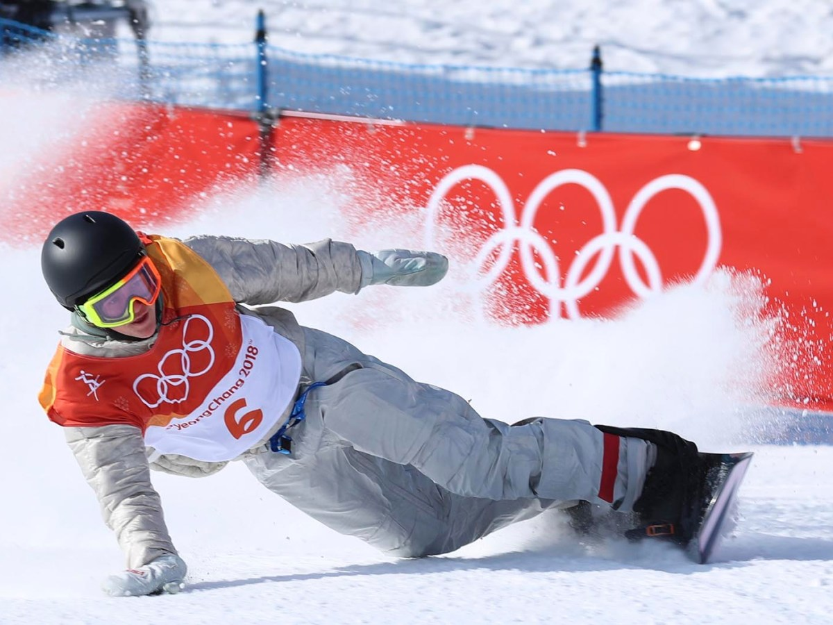 Red Gerard on his way to making history for Team USA at the Winter Olympics in South Korea. Photo: Reuters / Mike Blake